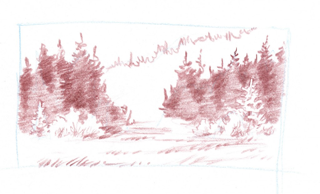 how to draw coniferous forests